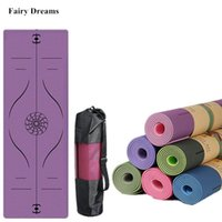 1830 * 610 * 6mm TPE Yoga Mat con la línea de posición Sport alfombra de alfombra para principiante Gimnasia ambiental Gimnasia Antidkid Mat Bag Set Z1125