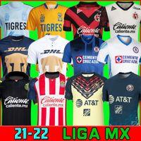 クラブアメリカCruz Azul 21 22サッカージャージ2021 2022 Guadalajara Chivas 115th Tijuana Unam Tigresホーム離れた第3リガMXフットボールシャツサントスラグーナメキシコ