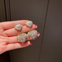 Dangle & Chandelier Fashion Shiny Crystal Temperament Drop Earrings Trend Sweet Fresh Lovely Heart Pearl Elegant Senior Women