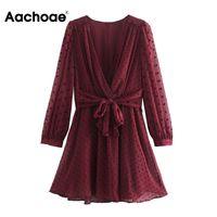 Casual Dresses Aachoae Solid Elegant Dot Embroidery Dress Autumn Summer V Neck Chiffon Mini Long Sleeve Sashes Pleated Beach