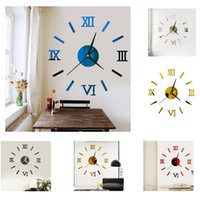 6 ألوان الساعات الرومانية ساعات الحائط الحديثة الفن 3d مرآة ملصقا المنزل الديكور 36 سنتيمتر + diy الوزن البيئي غير سامة 80 جرام