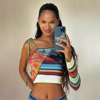 Striped Ribbed T Shirt Women Sexy Long Sleeve Lace Up Tees 2021 Streetwear Patchwork One Shoulder Crop Tops Women's T-Shirt