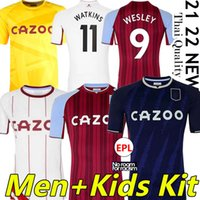 21/22 Aston Villa Futebol Jerseys Buendia El Ghazi Treoré Grealish Wesley McGinn Jersey Watkins Kodja Sanson Targett Douglas Luiz Homens Kits Kits