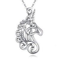 925 Sterling Sier Jewelry Horshoe Mujeres Unicornio Caballo Colgante Colgante Collar