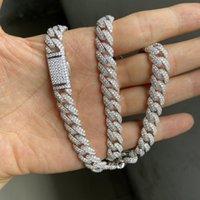 Meisidian 24-дюймовый S925 серебристый замороженный VVS Moissanite Diamond Cuban Link цепочка ожерелье для мужчин цепочки