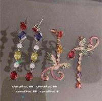 레트로 유화 색상 보물 방울 무지개 지르콘 피닉스 전체 비대칭 귀걸이 목걸이