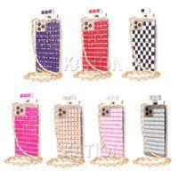Luxury Designer Women Defender Phone Cases with Chain Lanyard For MOTO G Stylus LG Stylo 6 Aristo 4 3 K51 K30 K40 Perfume Diamond Mobile Back Cover