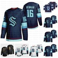 16 Luke Henman Seattle Kraken 2021 Jersey de hockey 7 Devon Toews 10 Matthew Beniers 91 Carl Grundstrom 32ème équipe