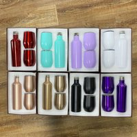3pcs set Wine Tumbler Bottle Mug Chiller Double Wall Stainless Steel Vacuum Insulated 17oz Water Bottles 12oz Travel Wines Glass Coffee Cup With Gift Box WLL314