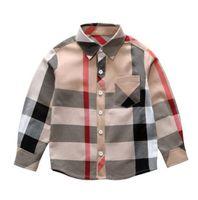 Federbessere Kleidung Verkauf Mode 3-8Y Kinder Neue Langarm Große Plaid T Marke Muster Revers Junge Hemd Großhandel
