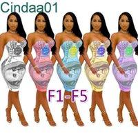 Kadın Elbise Tasarımcısı Ince Seksi Gece Kulübü Stil Kolsuz Katı Renkli Mektup Baskılı Elbiseler Yan Kayış Tasarım Etek 31 Stilleri