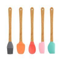 5 pc / set cozimento de pastelaria ferramentas mini silicone spatula raspador basting escova colher para cozinhar mistura nonstick cookware cozinha dda5960