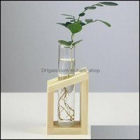 Décor Home & Gardencrystal Glass Test Tube Vase In Wooden Stand Flower Pots For Hydroponic Plants Garden Decoration Vases Drop Delivery 2021