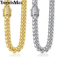 Trendsmax Miami Curb Mens Necklace Chain 316L Stainless Steel Iced Out Cubic Zirconia CZ Gold Silver Color 12 14mm 30inch KHNM21 Chains