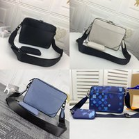 Luxurys Messenger Bag para hombre diseñadores Hombro Crossbody Bolsos de 2 piezas Conjunto de moda Hombre de cuero con estampado de moda con bolso bolso Mini monedero Monedero