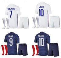 Fransa Yetişkin Ev Futbol Forması 21-22 Uzakta Mbappe Griezmann Kante Pogba Maillots De Futbol Maillot Equipe Fransız Kiti Çorap