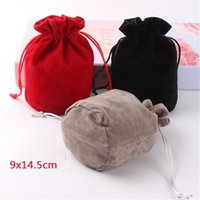 10st / parti 9x145cm runda botten sammet väska påsar för smycken kosmetiska förpackningar jul bröllop presentpåse