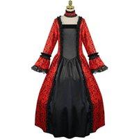 Casual Dresses Sommer Vintage Kleid Frauen Mittelalterliches Kleid mit großen Farbhülsen Spitze Nähen Lose Prinzessin Vestidos