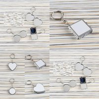 Heat Transfer Key Chain Double Sided Sublimation Blanks Love Heart Circular Square Metal Ring Mirrors Buckle Printing Photo EWE6746