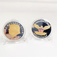 2024 US Election Trump Commemorative Coin Gold Plated Silver Plated Double Colored Lucky Coins Iron Crafts T500578