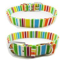 Dog Collars & Leashes Multicolor Big Collar Canvas Pet Puppy For Medium Dogs Necklet Pets Cat Necklace Rainbow Color Neck Strap