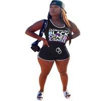 Frauen Strampler Schwarze Buchstaben Gedruckt Overall Slim Sleeveless Weste Bodycon Jumpsuits Kordelzug Kurze Hosen Einteiler Anzug G68ze4o