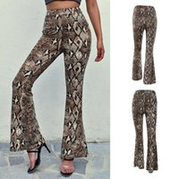 Design High Waist Women Snakeskin Leopard Pants Wide Leg Long Flare Bell Bottom Trouser Fashion Ladies Autumn Women's & Capris
