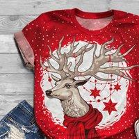 R40 rosso Elk Nbsp Donne T Shirt Stampa Natale Plus Size Anno Manica Corta O Copri Top TEE