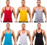 Mens Stringer Bodybuilding Bodybuilding Top Sólido Ginásio Singlet T Camiseta Fitness Roupas Y-Back Tanques Atacado