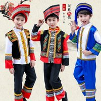 Fabbrica Etnica per bambini Zhuang Three Guangxi March March Hulusi Performance Minority Costumes Boysu2GV