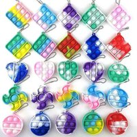 Tie Dye Color Bubble Poppers Key Ring Silicone Fidget Toys Push Pop Bubble Puzzle Keychain Kids Baby Finger Fun Game Rainbow Stress Ball G5739PC
