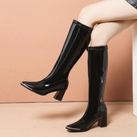 Boots Comemore Women Motorcyle Fashion Square Toe Knee High Over The Autumn Winter Warm Patent Leather Heels Shoes