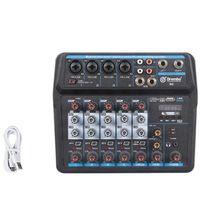 Sound Cards 6 Channel Portable Digital Audio Mixer Console With Card,Bluetooth, USB 48V Power For DJ Recording EU Plug