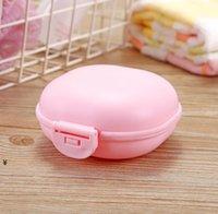 마카롱 컬러 욕실 비누 케이스 접시 홀더 홈 샤워 여행 하이킹 컨테이너 PP 휴대용 비누 상자 뚜껑 NHF6632
