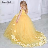 Girl's Dresses Beautiful Yellow Puffy Tulle Flower Girl Dress For Wedding Sleeveless Kids Clothes Birthday Party Gown Custom Made