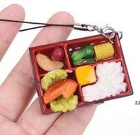 Bonito Simulação Sushi Chaveiro Chaveiro Chaveiro Falso Japonês Caixa De Alimentos Chaveiro Bolsa Bolsa Pingente Chave Chave Anel engraçado Brinquedos HWA9164