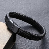 Charm Bracelets ZOSHI Punk Men Jewelry Black Red Braided Leather Bracelet Stainless Steel Magnetic Clasp Fashion Bangles Wrap