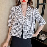 Korean Vintage High Waist Plaid Short Blazers Women 2021 Summer Sleeve Blazer Thin Double Breasted Cropped Coats Tops Women's Suits &