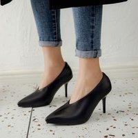 Chique luva vovó bombas stiletto fino salto alto sapatos mulheres apontou toe escorregar na festa de costura escritório senhoras vestido data