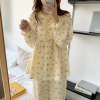 الحلو الكشكشة الفتيات المطبوعة أزهار اللون ضرب الأزياء الكورية زائد النوم الدافئة لطيف الملابس المنزلية البيجامة مجموعات 210416