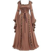 Lässige Kleider Vintage Frauen Mittelalterliches Kleid Cosplay Kostüme Halloween Karneval Mittelalter Bühnenleistung Gothic Retro Plus Größe