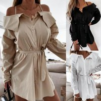 Casual Dresses Solid Color Office Ladies Dress Sexy Off Shoulder For Women Strapless Long Sleeve Party Robe Femme