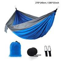 Outdoor Parachute Tuch Hängematte Faltbare Feld Camping Swing Hängende Bett Nylon Hängematten mit Seilen Carabiners 44 Farben 106 * 55 Zoll
