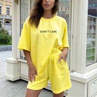 Letter Print Women's Tracksuit Suit Sportswear Women T-shirt Shorts Tracksuits Sets Female 2021 Summer Casual Short Pants Suits