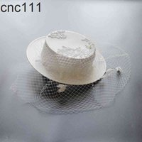 Bride Wedding Veil Fedora Hat Photography Wide Brim Headpiece Women Banquet Headwear Church Sinamay Fascinator Hats