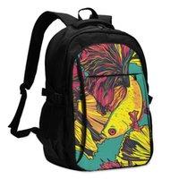 حقيبة يد USB شحن محمول للنساء للمراهقين الفتيات القتال الأسماك betta سفيينز السفر bagpack