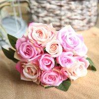 Decorative Flowers & Wreaths Fake Silk Rose Stem 9pcs lot Artificial Flower Wedding Bride Bouquet Simulation Wreath Garlands Plant Home Deco