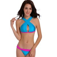 Goddess Women's Bikini Sexy Swimsuit Cross Halter Back Spring 2021 Patchwork Women Swimwear Beach