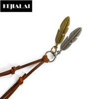 Retro Style Genuine Leather Men Leaf Pendant Necklace Double Leaves Gold And Silver Color High Quality Rope Chain Gift Necklaces