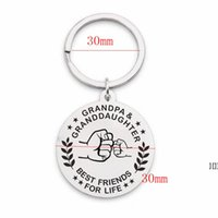 Stainless Steel Keychain Pendant Metal Round Family Key Chai...
